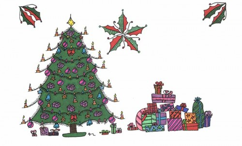 Hand drawn holiday coloring cards