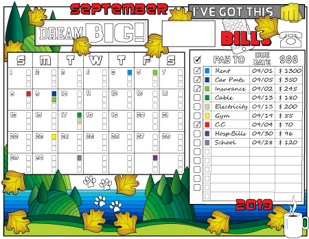 Monthly bills tracking planner page