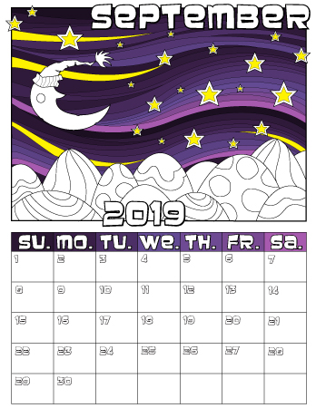 September monthly coloring calendar