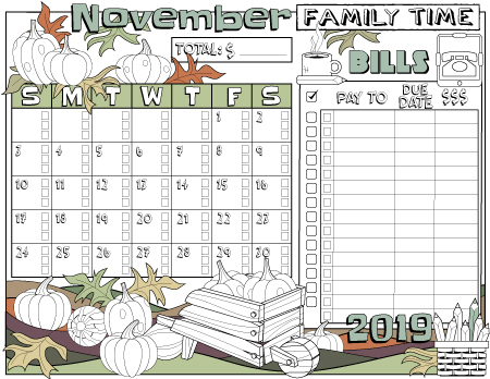 Monthly bills tracking planner page November