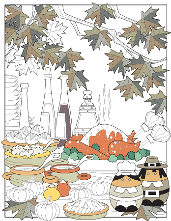 November planner journal coloring page