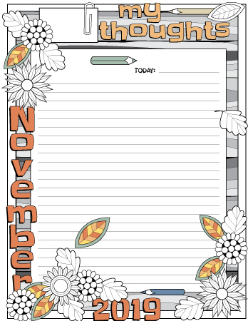 November 2019 my thought daily planner page colored