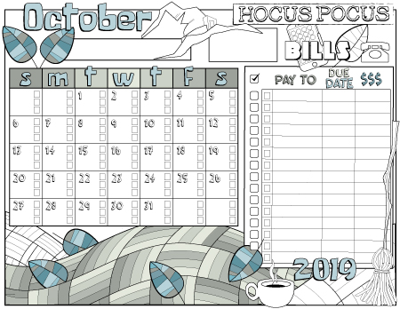 Monthly bills tracking planner page October