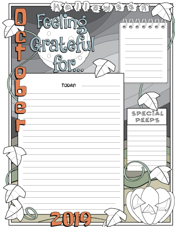 Gratitude journal page October colored