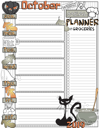 October weekly meal planner colored