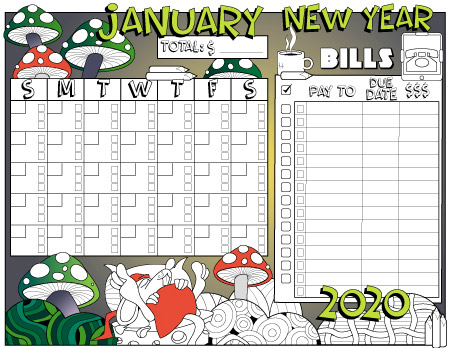 January 2020 colored monthly bills tracking planner page