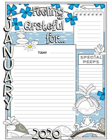 January 2020 colored gratitude journal page