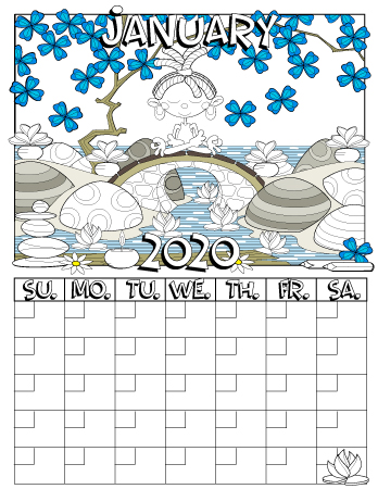 January 2020 colored monthly calendar