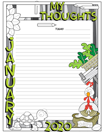 January 2020 my thought daily planner page colored