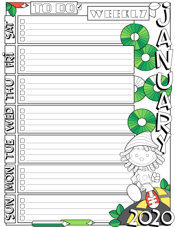 January 2020 colored to do list planner page