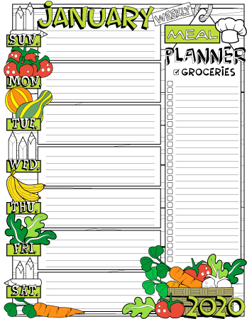 January 2020 colored weekly meal planner page