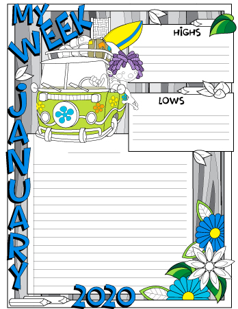 January 2020 colored weekly journal page