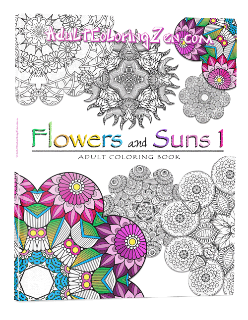 Flowers & Suns #1 adult coloring book