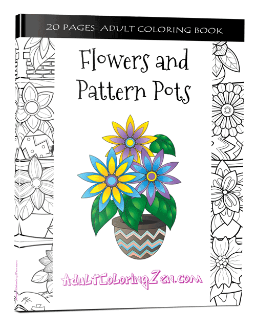Flowers & Pattern Pots coloring book